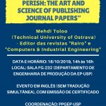"""Seminário """"Publish or Perish: The art and Science of Publishing Journal Papers"""" – 18 de outubro"""
