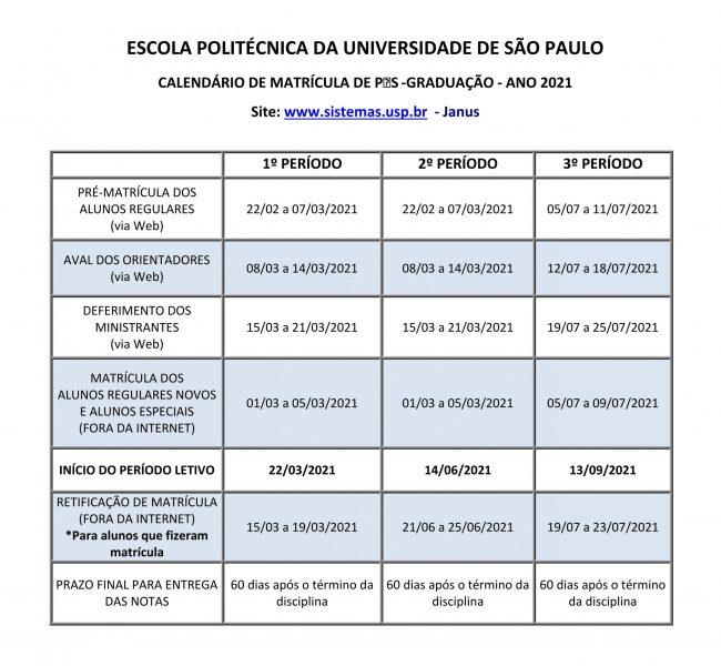 calendario de matriculas 2021
